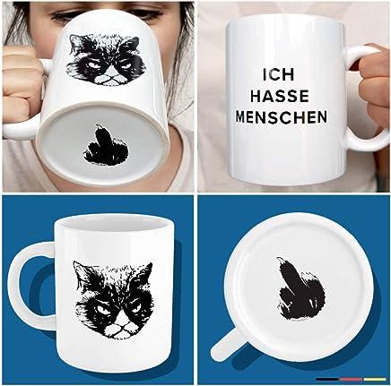 """Preisvergleich für Premium """"Ich hasse Menschen"""" Tasse mit Katzen-Motiv, bruchsicher verpackt ✔ witzige weiße Kaffee Katzen-Tasse, lustiges Geschenk für Kollegen, Morgenmuffel, Teenager"""