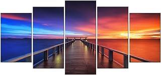 Pyradecor XL Size Sunset Bridge 5 Panels HD Canvas Prints Modern Seascape Artwork Landscape Canvas Art for Home °²¶¨Office...