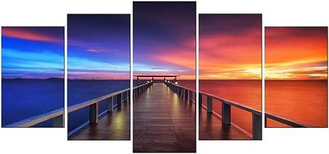 """Pyradecor XL Size Sunset Bridge 5 Panels HD Canvas Prints Modern Seascape Artwork Landscape Canvas Art for Home °²¶¨Office Decoration Interior Design 10x16""""x2pcs,10x20""""x2pcs,10x24""""x1pc Multi AH5001"""