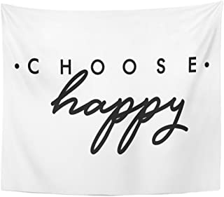 TOMPOP Tapestry Slogan Choose Happy Saying in Beauty Text Home Decor Wall Hanging for Living Room Bedroom Dorm 50x60 Inches