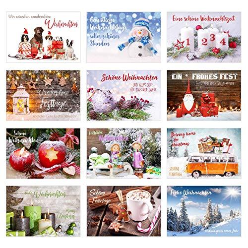Edition Seidel, Set esclusivo di biglietti di Natale con busta, biglietti pieghevoli con busta, cartoline natalizie 12 Karten Set 1