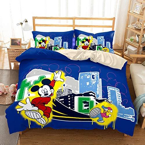 RITIOA Ropa de cama con diseño de Minnie Mouse y Mickey Mouse, suave y esponjosa, funda nórdica de 200 x 200 cm y 2 fundas de almohada de 50 x 75 cm
