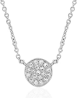 Humble Chic Cubic Zirconia Disc Pendant Necklace - Hypoallergenic Simulated Diamond Crystal Rhinestone CZ Dainty Choker Chain - Plated in Rhodium or 14k Gold