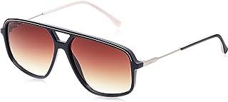 نظارات شمسية مستطيلة للرجال من لاكوست بتصميم اشرطة وخطوط بلون ازرق