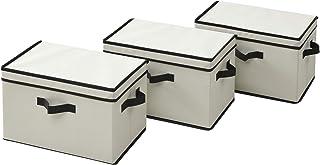 山善 どこでも 収納ボックス ふた付き 幅38×奥行25×高さ25cm 取っ手付き カラーボックス対応 完成品 アイボリー 3個組 YNF-3PF(IV)