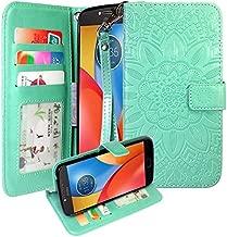 Moto E4 Plus Case, Harryshell Wrist Strap Kickstand Flip PU Leather Wallet Protective Case Cover with Card Slot for Motorola Moto E Plus (4th Generation) (Mint)