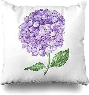 Ahawoso Throw Pillow Cover Watercolor Purple Bouquet Lilac Hydrangea Flowers White Nature Natural Parks Blue Bush Hortensia Decorative Cushion Case 16x16 Inches Square Home Decor Pillowcase