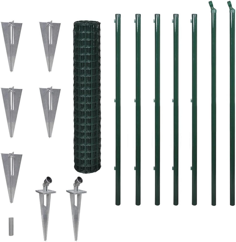 Festnight Garden PVC Fence Set Animal Steel Wire Net Border Green Length  10 m Height  1.7 m