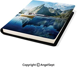 Stretchable Book Covers Online,Sunset in Norwegian Lake by Fjords Formation Yacht Fishing Arctic Harbor Island Blue,8.7