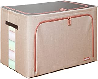 GLJ Hemp Oxford Cloth Square Towel 4.5mm Steel Frame Waterproof Two-Way Zipper Storage Box Extra Large 100 Liter Steel Frame Storage Box 60 * 42 * 40cm Jewelry Box (Color : Beige)