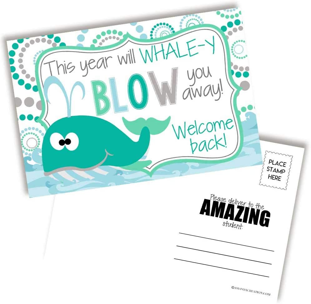 Cash special price Cute Whale Themed Welcome Back To Blank School For Postcards Tampa Mall Tea