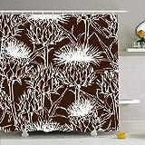 Leona Chesterton Duschvorhang Set mit Haken Natürliches Muster Onopordum Floral Acanthium Schottische Distel Umriss Mode Natur Spike Textil Wasserdichtes Polyestergewebe Bad Dekor für Badezimmer