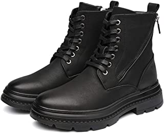 XinQuan Wang Ankle Boots for Men High Top Shoes Lace up with Side Zipper Round Toe Faux Leather Solid Colour Anti-Slip Stitch British Style (Color : Black Plush Inside, Size : 7 UK)