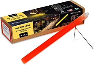 """Cyalume Industrial Grade SnapLight Flare Alternative Chemical Light Sticks with Bipod Stand – Non-Flammable, Waterproof Light Stick is a Safer Alternative to Pyrotechnic Flares, Provides 2 Hours of Bright Light – Red, 10"""" Long (Pack of 10)"""