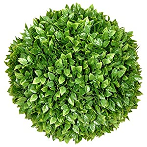 ECOOPTS 15 Inch Artificial Topiary Ball Lifelike Plants Rose Leaf Boxwood Decor Cone for Wedding, Home, Front Patio,Planter,Deck,Garden,Backyard Décor Multiple Sizes 1 Pack