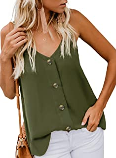 c989fa0a00e668 FARYSAYS Women s Casual V Neck Button Down Strappy Cami Tank Tops Summer  Sleeveless Shirts Blouses