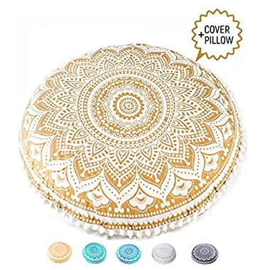 Mandala Life ART Bohemian Decor Floor Cushion - INSERT INCLUDED - 30  Round Floor Pillow Pouf - 100% Hand Printed Organic Cotton by (Gold)