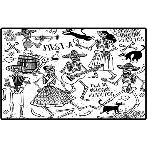 Door Mats Mexican Day of The Dead Dancers Themed Woman and Man Skeleton Icon Playing Music Design Area Rugs for The Entrance Way Indoor Mats 36x24