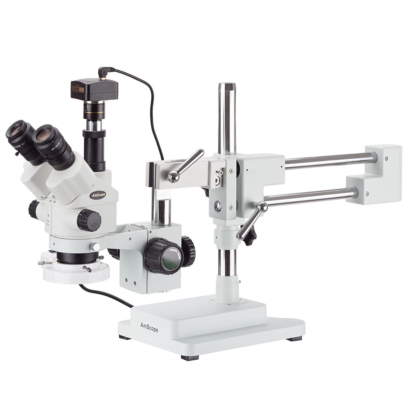 AmScope 7X-45X Simul-Focal Stereo Zoom Microscope on Boom Stand with a Fluorescent Light and Camera