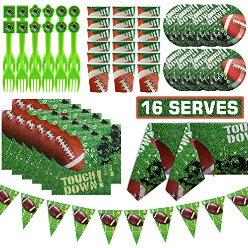83 Pieces Football Touchdown Party Supplies Set,Super Bowl Sunday Tableware Accessory Decorations,Sports Themed Pack for NFL Game Day,Serves 16 Including Banner,Plate,Cups,Napkins,Forks,Table Cloth