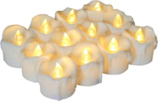 Homemory Timer Tea Light Candles Bulk, Set of 12 Warm White Electric Tealight, Battery Operated Votive Candles with Flickering and Dripping Wax Look, 1.7'' D × 1.4'' H
