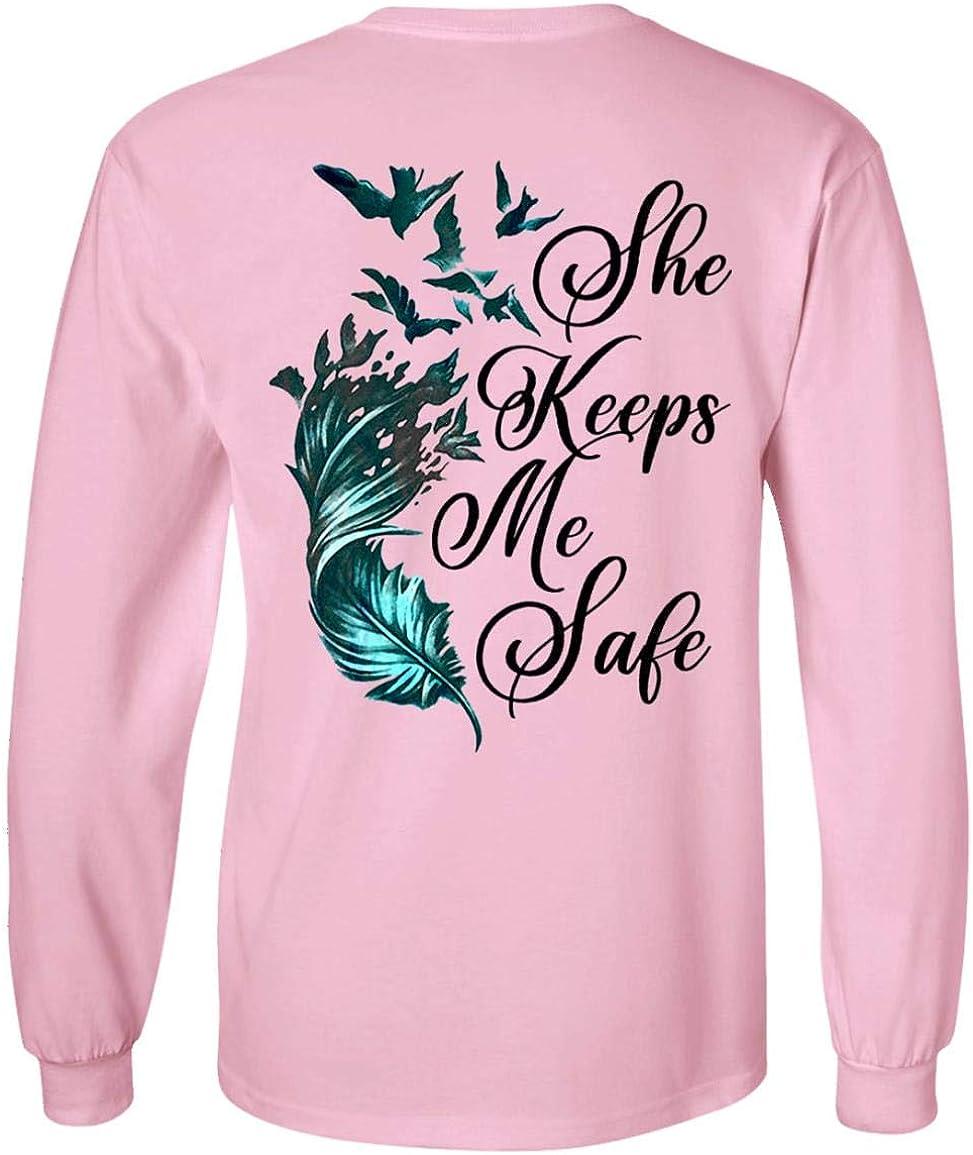 She Keeps Me Safe Feather クリアランスsale!期間限定! Print Sweatshirt Hoodie Lo On メーカー公式ショップ Back -