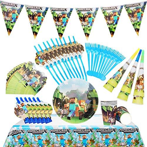 Cumpleaños Decoracion Niño-Vajilla para Fiestas de Cumpleaños Party Kit Incluye Feliz Cumpleaños Pancartas, Tazas, Platos, para Miner Pixel Style Gamer Party Supplies,64 pcs