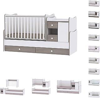 Lit bébé évolutif/combiné MiniMax 3en1 Lorelli blanc/café (le lit bébé se transforme en: bureau, armoire, lit d'adolescen...