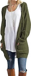 Women's Open Front Long Sleeve Boho Boyfriend Knit Chunky Cardigan Sweater with Pocket S-3XL