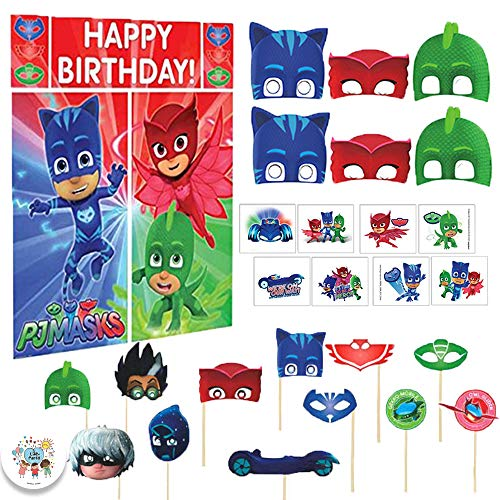 Another Dream PJ Masks Birthday Party Favors Games with Scene Setter, Photo Prop Sticks, Masks, Tattoos and Exclusive Birthday Pin