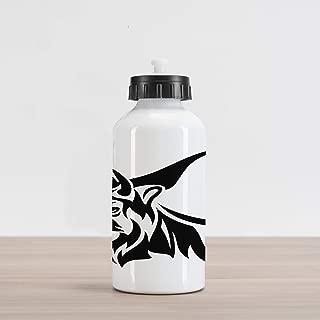 Lunarable Bison Aluminum Water Bottle, Horned Animal Yak Mammal with Monochrome Design Wildlife Strength Illustration, Aluminum Insulated Spill-Proof Travel Sports Water Bottle, Black and White