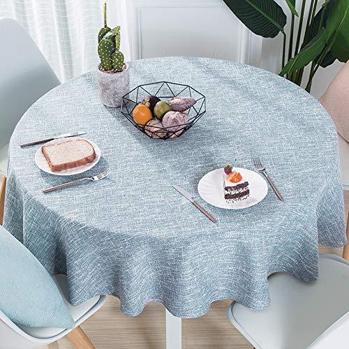 DJUX - Mantel de Lino y algodón, diseño Redondo, 260 cm y 280 cm, Mantel Redondo Azul Claro (línea Blanca), 220 cm