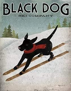 Black Dog Ski Ryan Fowler Skiing Sign Dog Lab Animals Print Poster 12x12