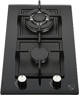 K&H Domino 2x Brûleurs Table de Cuisson Gaz en Verre trempé 30cm WOK 2Z-KHGW