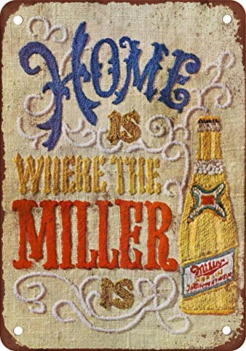 1969 Miller Beer Needlepoint Vintage Look Reproduction Metal Tin Sign 12X18 Inches