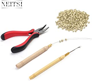 Neitsi Hair Extension Remove Pliers + Pulling Hook + Bead Device Tool Kits + 500pcs 5mm Micro Rings (Blonde# Beads)