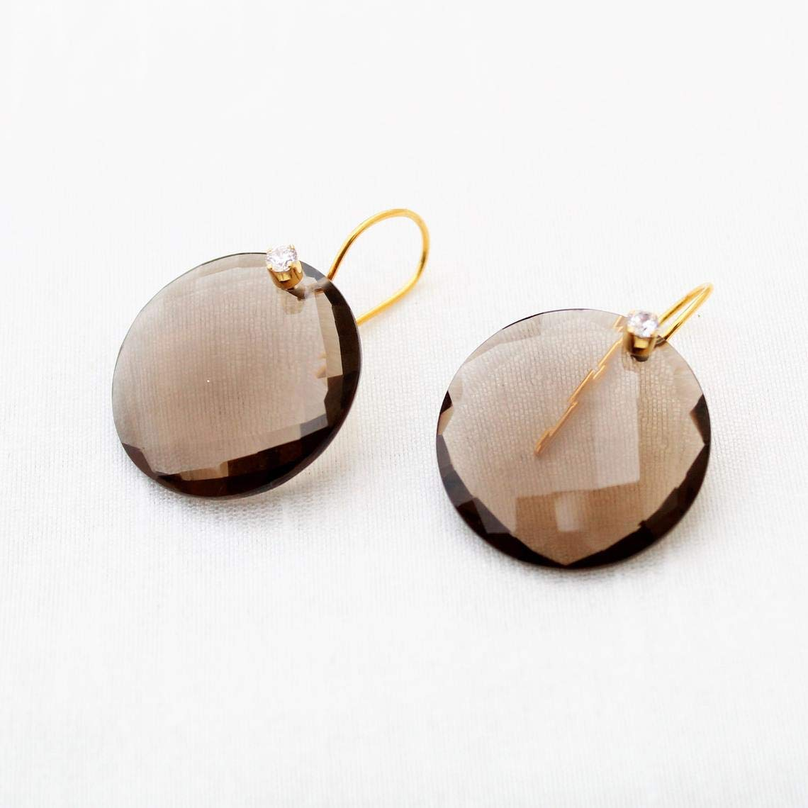 Natural Smoky Quartz Earrings Sterling Silver Yel Lowest price challenge 925 Max 53% OFF