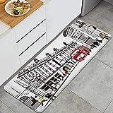 PANILUR Alfombras para Cocina Baño de Cocina Absorbente Alfombrilla,Paris Blanco y Negro Art City Street Bus,para Dormitorio Baño Antideslizantes Lavables