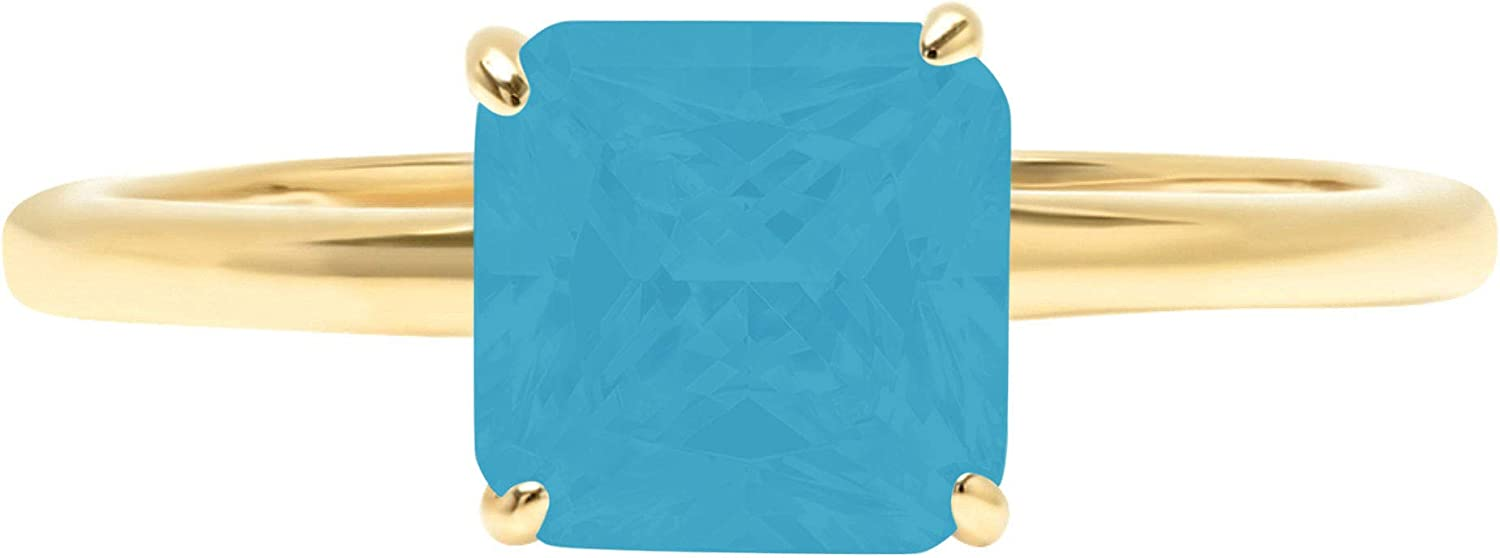 1.4ct Brilliant Asscher Cut Solitaire Flawless Simulated Cubic Zirconia Blue Turquoise Ideal 4-Prong Engagement Wedding Bridal Promise Anniversary Designer Ring Solid 14k Yellow Gold for Women
