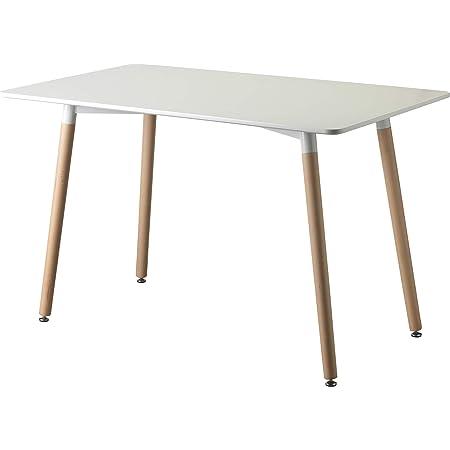 Table à manger blanche en bois. Bureau avec pieds en bois 120X70X72cm