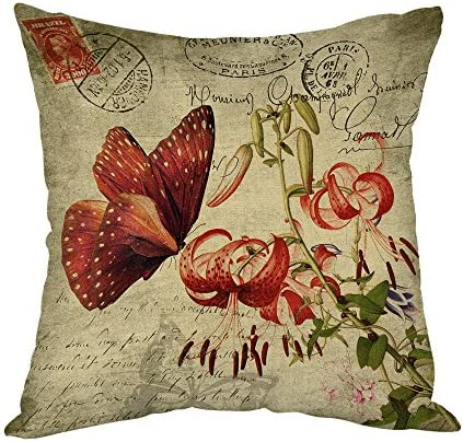 Moslion Butterfly Pillow Home Decor Throw Pillow Cover vintage Red Butterfly with Flower Cotton product image