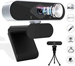 Webcam HD 1080p Web Camera Laptop Webcam Video Web Camera, USB PC Computer Webcam with Tripod Microphone Full HD 120 Degre...