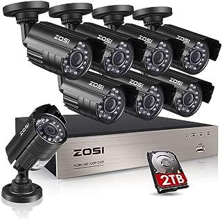 ZOSI AHD防犯カメラ セット 監視カメラ 8台 130万画素フルハイイビジョン 暗視機能+8chレコーダー HDD2TB付き スマホ/PC遠隔監視対応 動体検知 スケジュール録画機能 (HDD2TB)