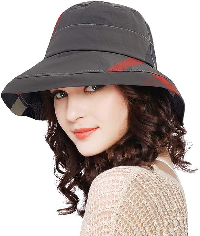 DOCILA Stylish Bucket Hats for Women Foldable Outdoor Plaid Fisherman Sun/Rain Cap with Chin Strap