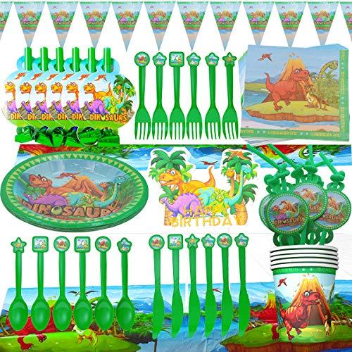WENTS Vajilla de Dinosaurio Set de 95 Piezas de Fiesta Diseño de Dinosaurio, Incluye Pancarta, Platos,Vasos, Cubiertos, Servilletas,Mantel, 10 Personas
