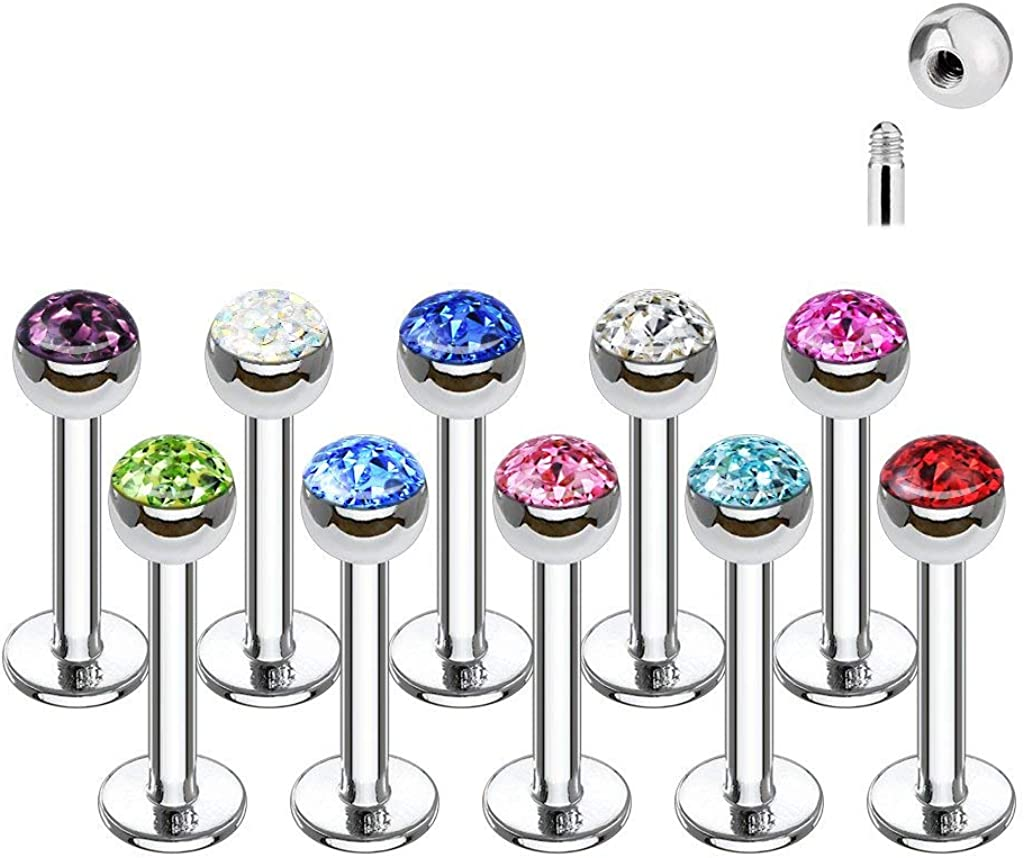 Forbidden Body Jewelry 16g 8mm Surgical Steel Ferido Crystal 4mm Top Cartilage & Labret Stud (Choose Color)