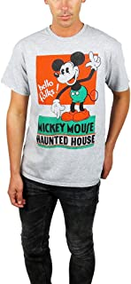 Mens Mickey Mouse Haunted House Distressed Graphic Tee