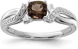 925 Sterling Silver Smoky Quartz Diamond Band Ring Gemstone Fine Jewelry For Women Gift Set
