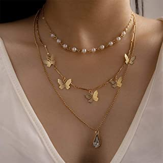 YERTTER Retro Multi-Layered Pearl Chain Butterfly Necklace Water Drop Crystal Necklace Set for Women Men Party Prom Vacation