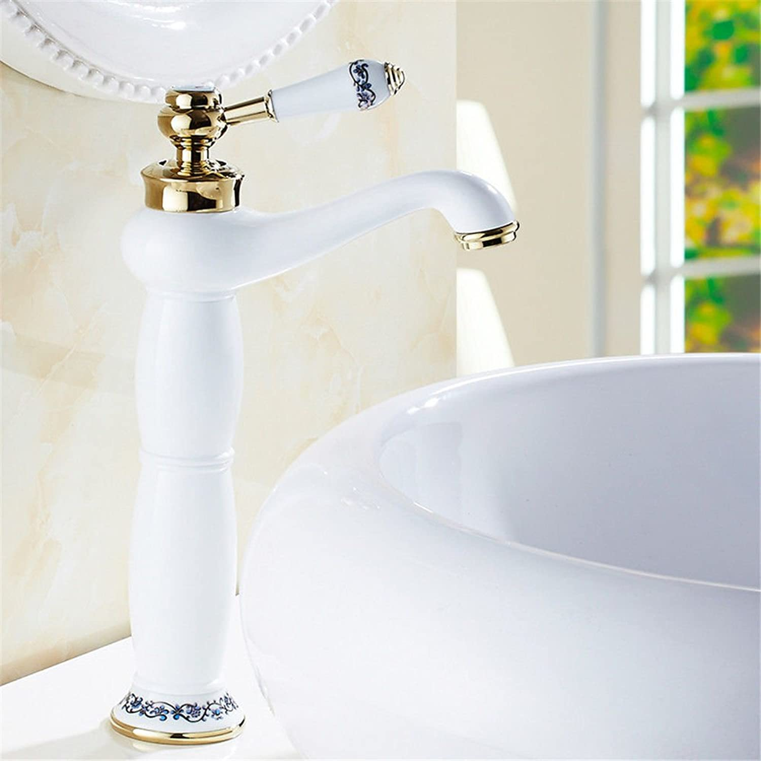 Gyps Faucet Sink Single Lever Mixer Tap Fitting for Bathroom White Hot and Cold Taps Copper Bath Plus High bluee Tiled High , Mixer Tap Bathroom Sink Basin Mixer Tap